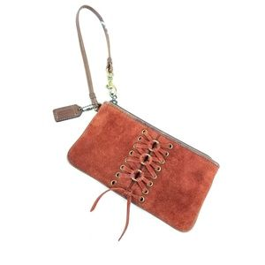 Coach Red Brown Suede Lace Up Boho Wristlet